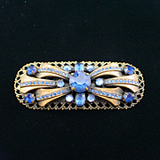 Goregous Art Deco Brass and Royal Blue Rhinestone Brooch Pin