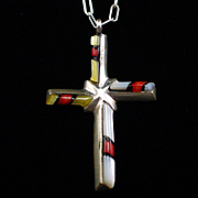 Large 1970s Sterling Zuni Inlay Coral and Mother of Pearl Cross Pendant Necklace