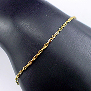 "14k Fine Vintage 7"" Rope Chain Bracelet"