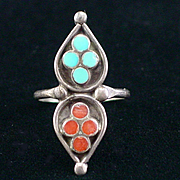 Vintage Native American Dishta Style Flush Turquoise Coral Inlay Ring Size 8
