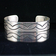 Vintage Native American Sterling Stamped Enamel Cuff Bracelet