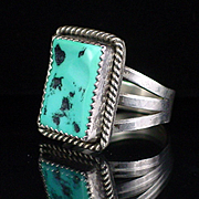 1970s  Santo Domingo L. Garcia Large Sterling Turquoise Mens Ring Size 10-1/4