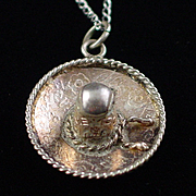 Early Mexican Sterling Sombrero Pendant Necklace