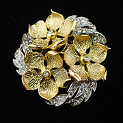 Stunning Lisner Rhinestone Layered Flower Brooch Pin