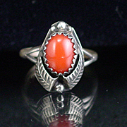 Vintage Native American Sterling Coral Leaf Ring Size 4-1/2