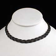 Art Deco Silver Braid Choker Necklace with Ornate Box Clasp