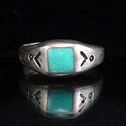 Vintage  Native American Inlay Turquoise Band Ring with Stampings Size 7-1/2