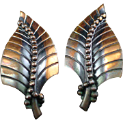 Unique Large Whiting and Davis Copper Leaf Earrings