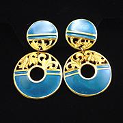 Vintage Berebi Blue Enamel Dangle Clip Back Earrings