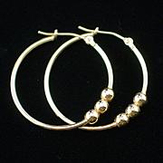 Estate 10k Yellow Gold  Large Hoop Earrings for Pierced Ears
