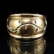 Vintage Large Wide Domed 10k Etched Band Ring Size 7