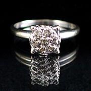 Art Deco14k White Gold High Mount Diamond Cluster Ring Size 6
