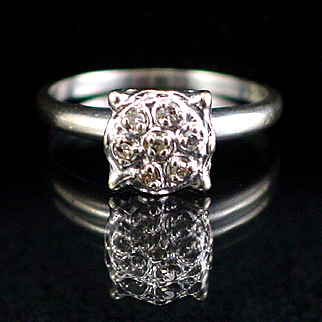 Art Deco14k White Gold High Mount Diamond Cluster Ring Size 6