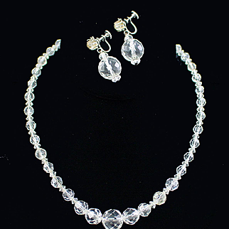 Early Faceted Crystal Necklace and Coro Faceted Crystal Dangle Earrings