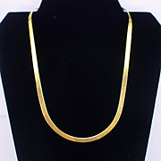 "Vintage Italian 14k Herringbone 20"" Chain Necklace 10.3 Grams"