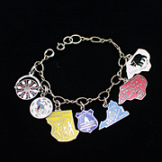 Vintage Sterling Charm Bracelet with Seven Enamel State & Tourist Charms