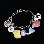 Vintage Sterling Charm Bracelet with Seven Enamel State & Tourist Charms