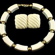 Vintage Napier Bold Cream & Gold Tone Necklace & Earrings