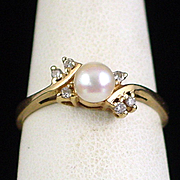 Vintage Magic Glo 10k Cultured Pearl and Diamond Ring Size 8