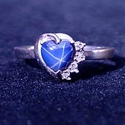 Vintage 10k White Gold Star Sapphire Diamond Ring Size 7