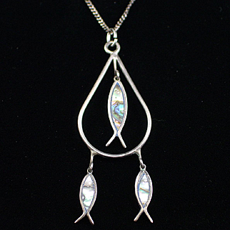 Unique Early Mexico Sterling Dangling Abalone Fish Necklace