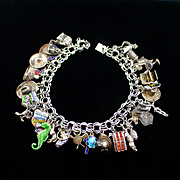 1940s Loaded Double Link Sterling Charm Bracelet With Over 30 Charms