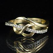Unique Modernist Style 10k Diamond Band Ring Size 7