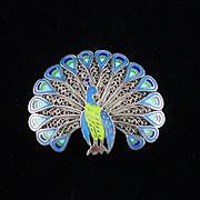 Fabulous Retro Topazio Sterling Enamel Peacock Brooch Pin