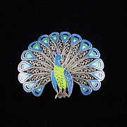 Fabulous Retro Topazio Sterling Enamel Peacock Brooch Pin