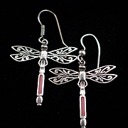 Vintage Large Sterling Enamel Dragonfly Earrings With Hook for Pierced Ears