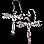 Vintage Large Sterling Enamel Dragonfly Earrings With Hook for Pierced Ears