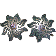 Deco Signed Mexico Sterling Inlay Turquoise and Abalone Pinwheel Screw Back Earrings