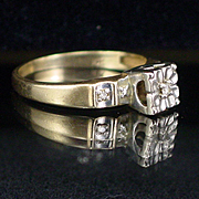 Art Deco 10k Yellow and White Gold Diamond Ring Size 7