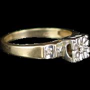 Art Deco 10k Yellow and White Gold Diamond Ring Size 7