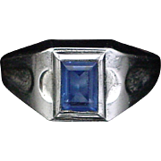 Retro Vargas Sterling Simulated Blue Topaz Ring Size 8-1/2