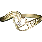 Beautiful Vintage 10k Diamond Accent Love Promise Ring Size 7