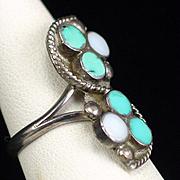 Vintage Signed Zuni Dishta Style Flush Turquoise Inlay Ring Size 6