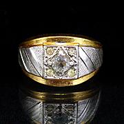Large Bold Vargas 18k GF Mens Rhinestone Ring Size 11
