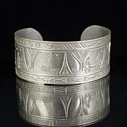 Early Navajo Silver Story Teller Bracelet with Whirling Logs
