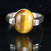 Vintage Modernist Sterling Tiger Eye Ring Size 7