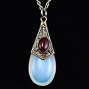 Vintage Sterling Opalescent Glass Garnet Necklace