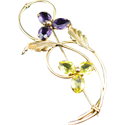 Large Retro Providence Stock Co. Gold Filled Art Glass Flower Brooch Pin