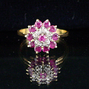 Vintage 14k Tiered Ruby Ring with Accent Diamonds Size 7-1/4