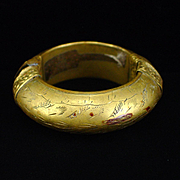 Early Large Solid Brass India Bangle Bracelet with Pin Hinge