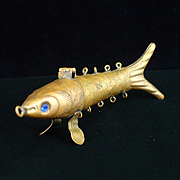 Large Early Brass Articulated Fish Pomander Pendant
