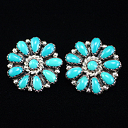 Retro Zuni Sterling Turquoise Petit Point Clip Back Earrings