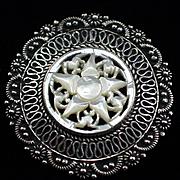 1940s Sterling Jerusalem Star of Bethlehem Carved Mother of Pearl Pendant Brooch