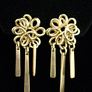 Unique Retro Gold Filled Dangle Earrings