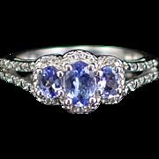 Stunning Vintage Sterling Triple Blue Tourmaline Ring Size 6-3/4