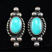Vintage Native American Sterling Turquoise Screw Back Earrings